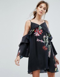 Neon Rose Cold Shoulder Cami Dress In Wildflower Print Co-Ord - Black