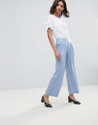 Neon Rose Crepe Wide Leg Trousers - Blue