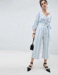 Neon Rose Crop Trousers In Stripe Co-Ord - Multi