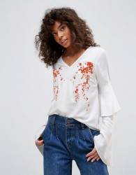 Neon Rose Embroidered Romantic Sleeve Blouse - White