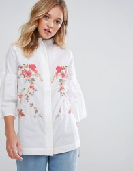 Neon Rose Embroidered Trophy Shirt - White