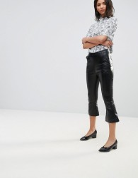 Neon Rose Faux Leather Kick Flares - Black
