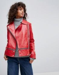 Neon Rose Faux Leather Zip Hem Biker Jacket - Red
