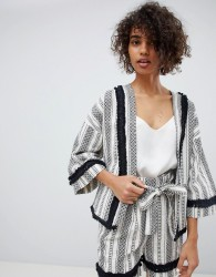 Neon Rose Jacket With Kimono Sleeves In Woven Stripe Co-Ord - Multi