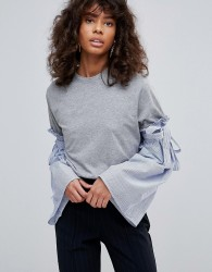 Neon Rose Jersey T-Shirt Contrast Stripe Fluted Sleeve - Grey