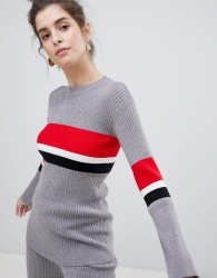Neon Rose Jumper With Block Stripe Co-Ord - Grey