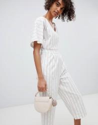 Neon Rose Jumpsuit In Woven Stripe With Tassel Ties - Cream