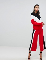 Neon Rose Knit Trouser Co-Ord With Side Stripe - Red