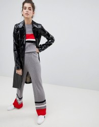 Neon Rose Knitted Trousers With Block Stripe Co-Ord - Grey