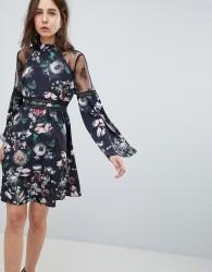 Neon Rose Lace Trim Floral Skater Dress - Black