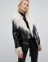 Neon Rose Longline Biker Jacket In High Shine Vinyl With Faux Mongolian Fur - Black