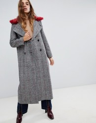 Neon Rose maxi coat in checked tweed with faux fur collar - Grey