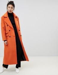 Neon Rose maxi double breasted overcoat - Orange