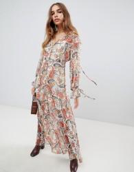 Neon Rose maxi smock dress in metallic paisley print - Multi