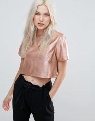 Neon Rose Metallic Pu Crop Top - Gold