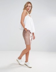 Neon Rose Metallic Pu Mini Skirt - Gold