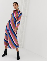 Neon Rose midaxi shirt dress in luxe stripe - Multi