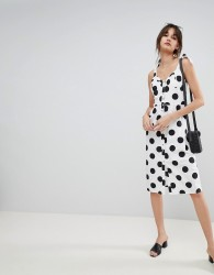 Neon Rose Midi Sun Dress With Button Front In Spot - White