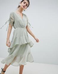 Neon Rose Midi Tea Dress With Ruffle Layer In Ditsy Spot - Grey