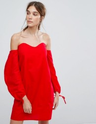 Neon Rose Off Shoulder Dress With Ruched Ribbon Sleeves - Red