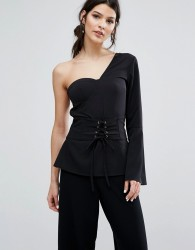 Neon Rose One Shoulder Top With Fluted Sleeve And Corset Detail - Black
