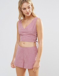 Neon Rose Pink Faux Suede Lace Up Crop Top - Pink