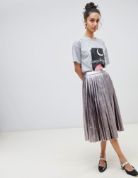 Neon Rose pleated midi skirt in metallic faux leather - Black
