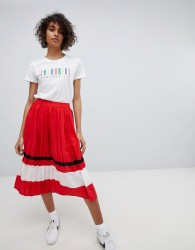 Neon Rose Pleated Midi Skirt With Sports Stripe - Red