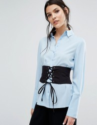 Neon Rose Poplin Boyfriend Shirt With Corset Waist - Blue