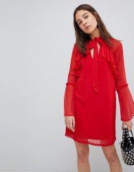 Neon Rose Pussy Bow Ruffle Smock Dress - Red