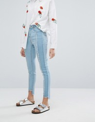 Neon Rose Reconstructed Skinny Jeans With Frayed Panels - Blue