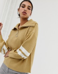 Neon Rose relaxed jumper with half zip and stripe sleeves - Brown