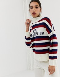 Neon Rose relaxed jumper with high neck in slogan stripe - Cream