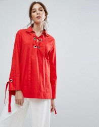 Neon Rose Relaxed Shirt With Ribbon Tie Cuffs And Metal Eyelets - Red