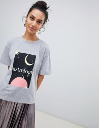 Neon Rose relaxed t-shirt with astrologie art print - Grey