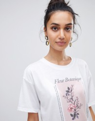 Neon Rose relaxed t-shirt with botanical flower print - White