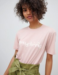 Neon Rose Relaxed T-Shirt With Mon Cherie Print - Pink
