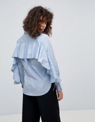 Neon Rose Ruffle Back Shirt - Blue