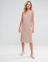 Neon Rose Satin Tie Detail Midi Slip Dress - Beige