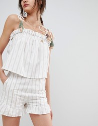 Neon Rose Shorts With Ruffle Hem Co-Ord - Cream