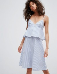 Neon Rose Striped Cami Sundress - Blue