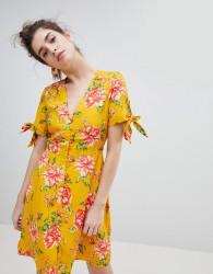 Neon Rose Tea Dress With Tie Sleeves In Vintage Bloom - Yellow
