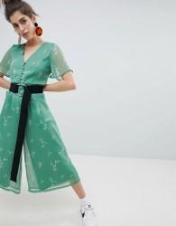 Neon Rose Tea Jumpsuit In Romantic Floral - Green