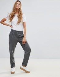 Neon Rose Textured Trousers - Grey