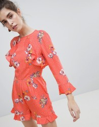 Neon Rose Tie Back Ruffle Playsuit In Spot Floral - Red