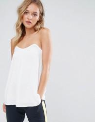 Neon Rose Tie Bardot Bandeau Top - White
