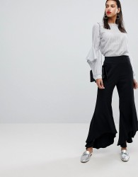 Neon Rose Trouser With Asymmetric Flare Hems - Black