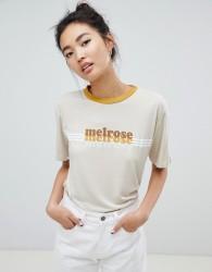 Neon Rose vintage ringer t-shirt with melrose print - Beige
