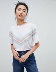 Neon Rose vintage ringer t-shirt with sports chevron print - White