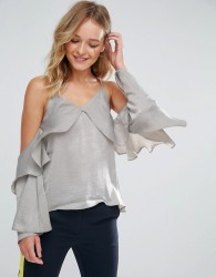 Neon Rose Waterfall Ruffle Satin Cami Top - Grey